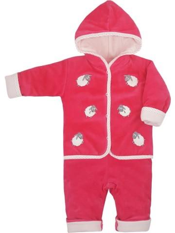 Zimní kojenecká soupravička Bobas Fashion Ovečky malinová