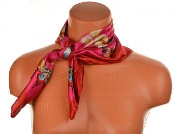 Malý šátek s motivem motýla, 55x55cm - červený