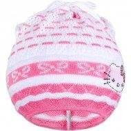 Pletená čepička-šátek New Baby kočička růžová
