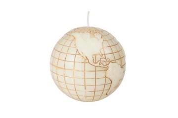 Dekorativní svíčka - zeměkoule - krémová, plastický dekor, 480g