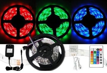 Farebný LED pás 5050 - 5 metrů - kompletný set