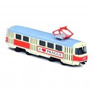 Kovová tramvaj Tatra T3, 16 cm - na zpětný chod, I ♥ PRAGUE