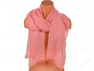 Dámský jednobarevný bavlněný šátek s kamínky - sytě růžový