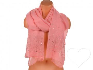 Eșarfă pentru femei de o culoare din bumbac cu pietricele - roz aprins