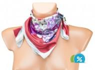 Malý šátek s motivem květin - červený