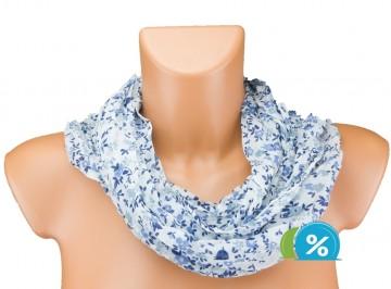 Eșarfă tunel pentru femei cu desen floral - albastru