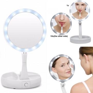 Oglindă cosmetică pliantă cu lupă și iluminare  LED