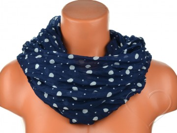 Dámský tunelový šátek s puntíky - tmavě modrý