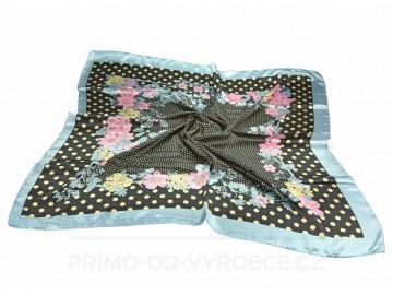 Šátek 90x90 lesklý květiny - šedý