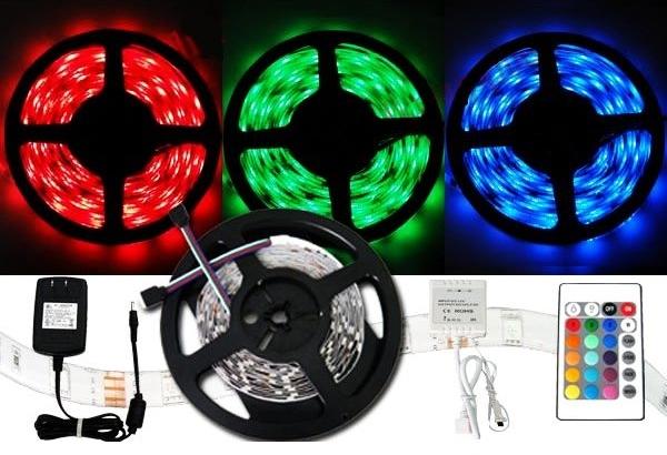 Farebný LED pás 3528 - 5 metrů - kompletný set