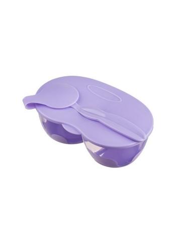 Dětská dvoukomorová miska se lžičkou Akuku fialová