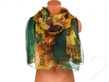 Dámský šátek s květinami - zelený