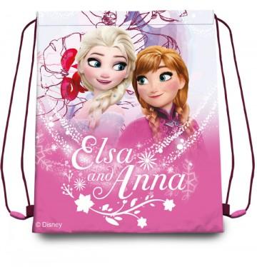 Taška na tělocvik a přezůvky Ledové Království Anna a Elsa růžová