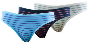 Dámské pruhované klasické kalhotky s nápisem Love - 3ks, velikost XL