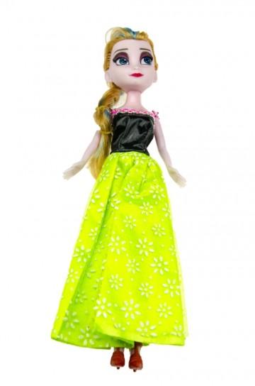 Baba zöld ruhában - 23cm