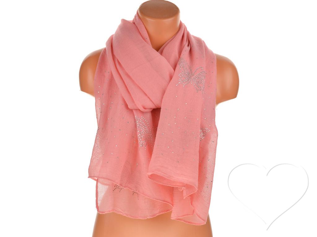 Női egyszínű pamut sál kövekkel - rózsaszín  1b5c49ec29