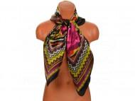 Velký šátek s motivem exotických květů, 90x90 cm - černý