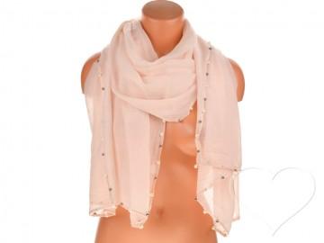 Eșarfă pentru femei de o culoare din bumbac cu perle - roz
