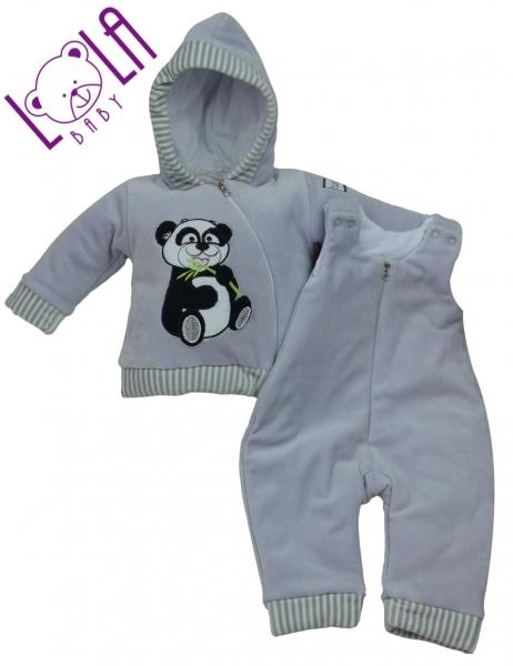 Oteplený komplet bundička a lacláče - šedý - Panda, velikost 68
