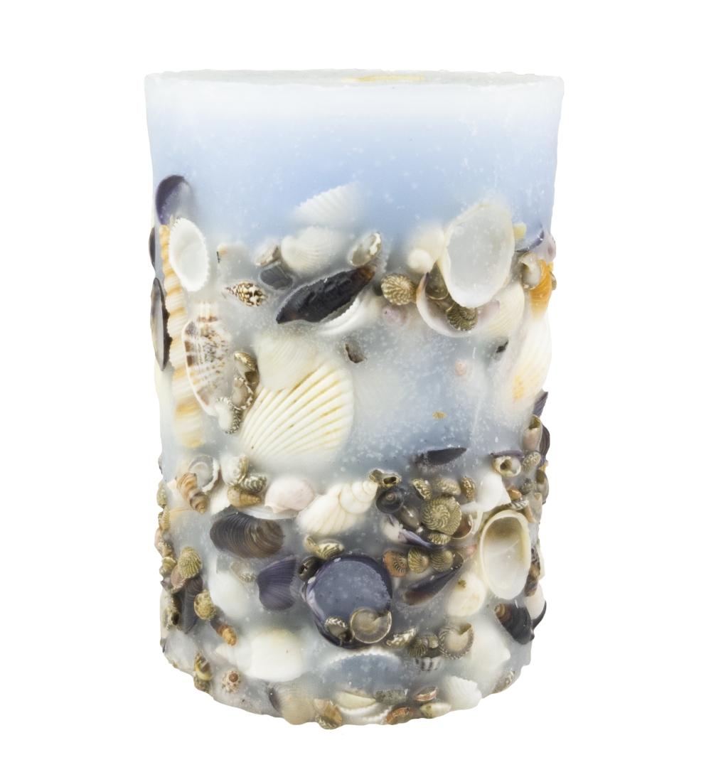 Zalévaná svíčka - válec, zdobená mušlemi, modrá, 100x150 cm, 1050g