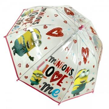 Průhledný deštník Mimoni srdíčka