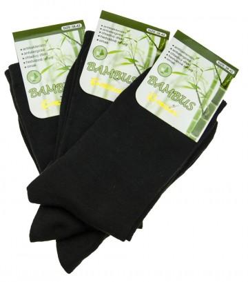 Dámské klasické bambusové ponožky černé - 3 páry, velikost 38-42