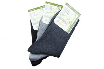 Klasszikus férfi bambusz zokni - fekete/szürke - 3 pár, méret 43-46