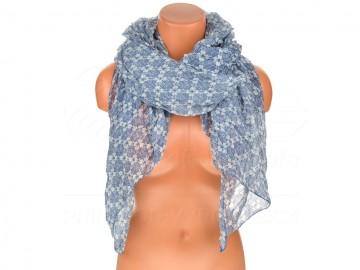 Letní šátek s motivem květů, 170x75 cm - modrý