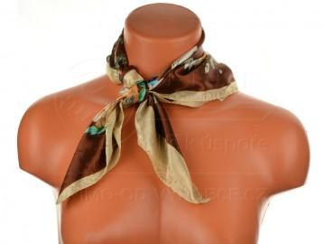 Malý šátek s motivem květin, 55x55cm - hnědý