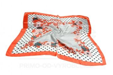 Šátek 90x90 lesklý květiny - oranžový
