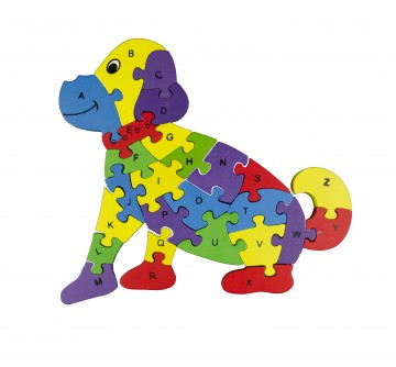 Készségfejlesztő fa puzzle - kutya