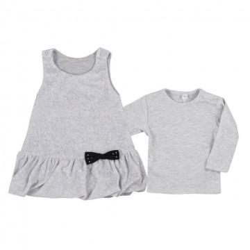 Dojčenské semiškové šatôčky s tričkom Bobas Fashion Bow sivé