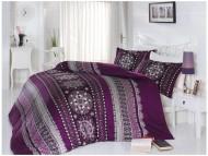 BIANCO luxusní Francouzské saténové povlečení Queen fialové 200x220+2x70x80