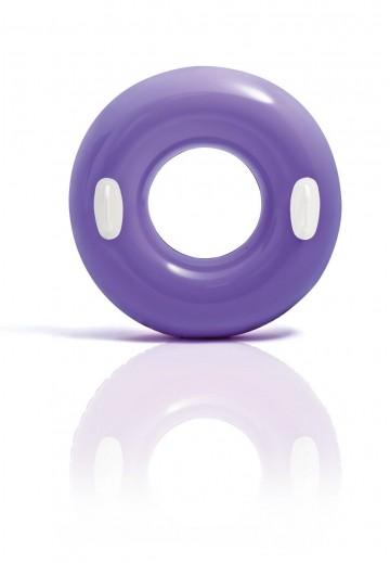 Nafukovací plovací kruh s úchyty - fialový, 76cm