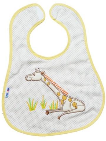 Detský podbradník Akuku bežový s žirafkou