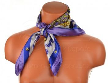 Malý šátek s královskou bordurou, 55x55cm - fialový