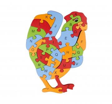 Készségfejlesztő fa puzzle - kakas