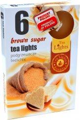 Čajové svíčky 6 kusů –  Hnědý cukr
