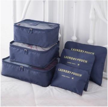 Praktické cestovní tašky a organizéry na cesty, 6 kusů v balení - tmavě modrá
