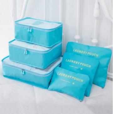 Praktické cestovní tašky a organizéry na cesty, 6 kusů v balení - světle modrá