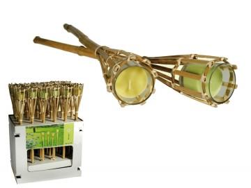 Bambusová louč se svíčkou s citronelovou vůní proti komárům