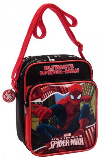 Taška přes rameno s kapsou Spiderman Red City 19 cm