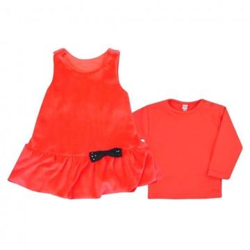 Kojenecké semiškové šatičky s tričkem Bobas Fashion Bow červené