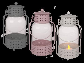 Kovová lucerna na čajovou svíčku - kulatá