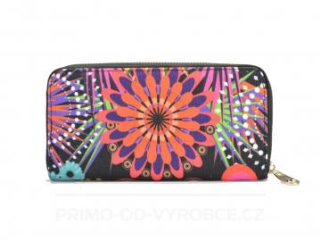 Női pénztárca színes virágos - fekete [6959]