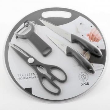Planșetă pentru tăiat cu accesorii (5 bucăți) - gri