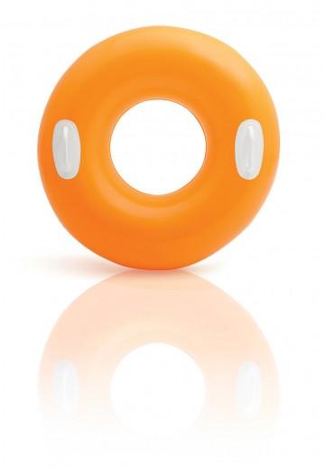 Nafukovací plovací kruh s úchyty - oranžový, 76cm