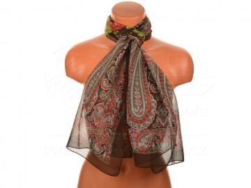 Letní šátek s motivem orientálních květin, 165x50cm - tmavě hnědý