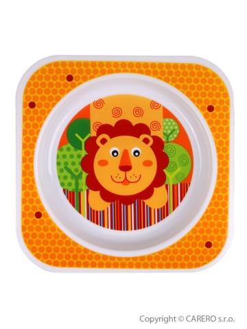 Detský tanier Akuku oranžový s levíkom