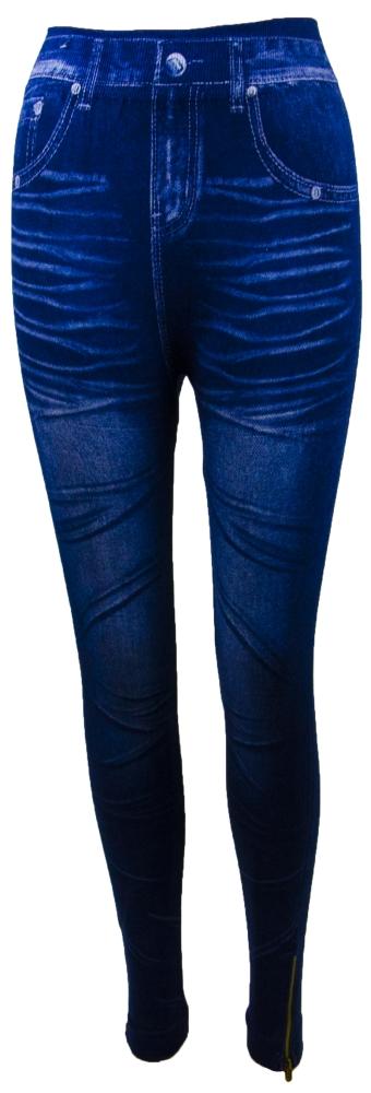 Dámské bavlněné legíny - džínový vzor, modré se zipem - velikost M/L